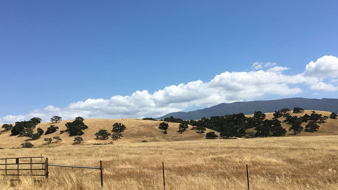 Views of the valley, mountains and sky of the Santa Ynez Valley.