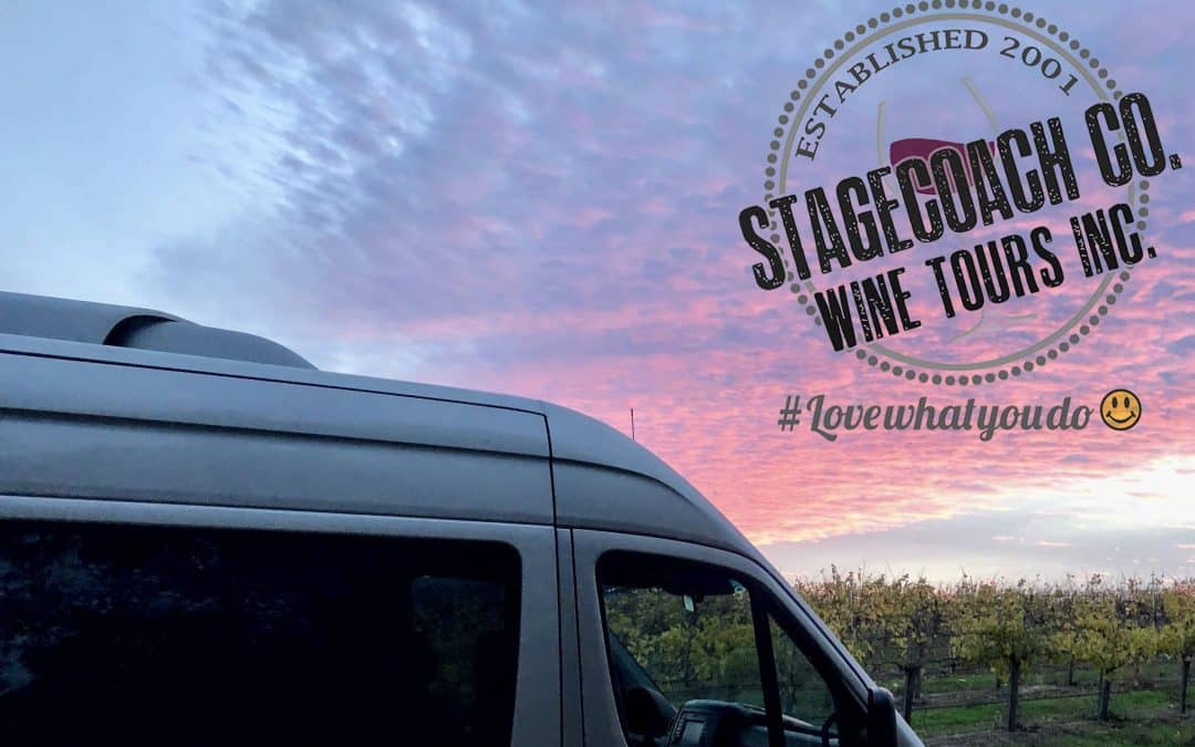 A view of our tour van in a vineyard at sunset with our logo.