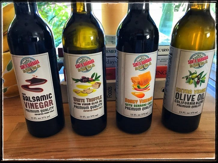 Four bottles of our premium olive oils and vinegars