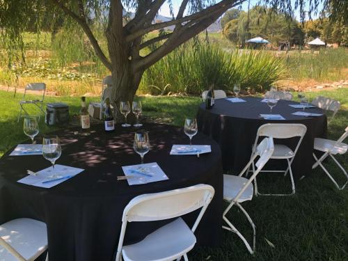 Seated tasting in an outdoor setting.